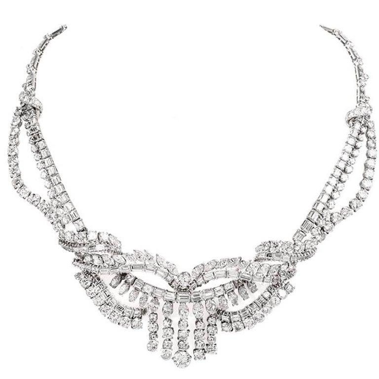 1950s 65.00-Carats Diamond Platinum Necklace