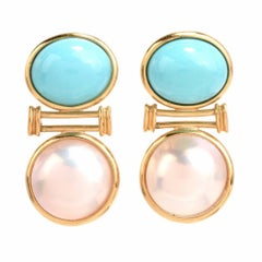 Estate Turquoise Cabochon Mabe Pearl Yellow Gold Earrings