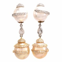 1990s Golden South Sea Pearl Diamond 18 Karat Gold Dangel Pendant Earrings
