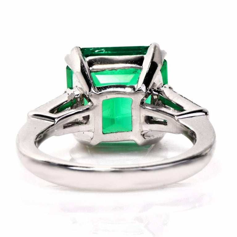 Remarkable Certified Colombian Emerald Diamond Platinum Ring For Sale 2
