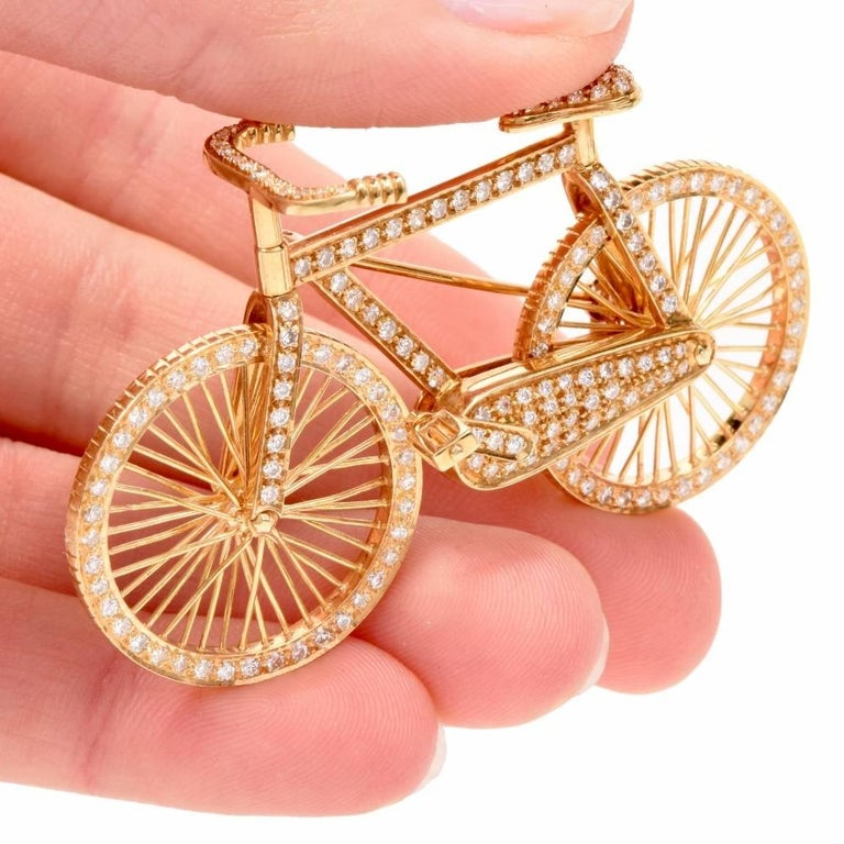1980s Diamond 18 Karat Gold Bicycle Figurine Pin Brooch 1