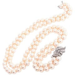 1960s Akoya Japanese Pearl Diamond Platinum Double-Strand Necklace