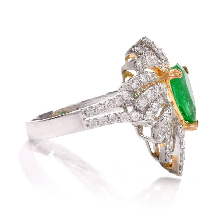 Colombian Emerald Diamond Swirl Design Cocktail Ring For Sale 1
