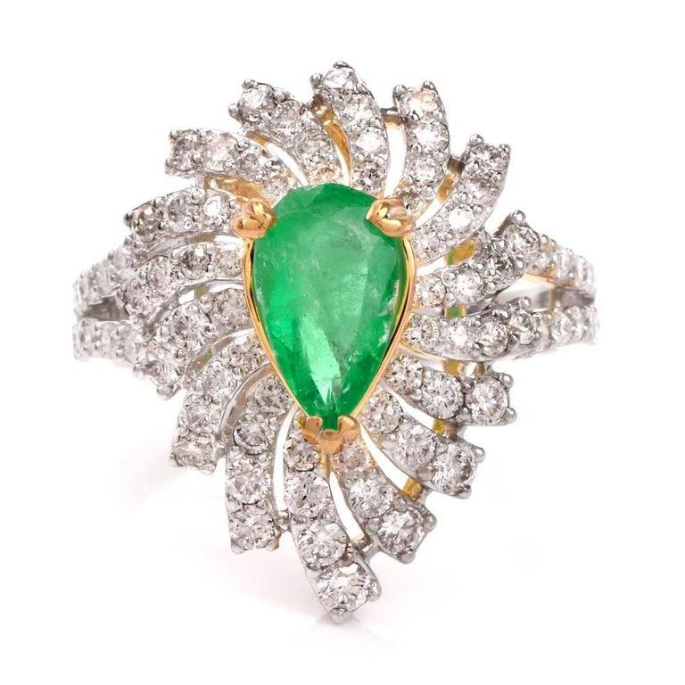 Colombian Emerald Diamond Swirl Design Cocktail Ring In Excellent Condition For Sale In Miami, FL