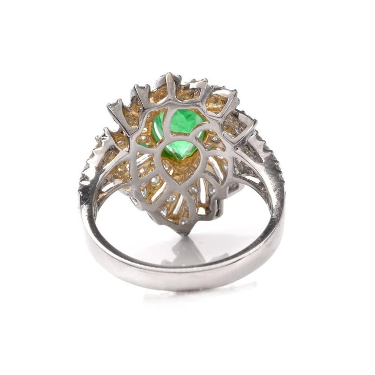 Colombian Emerald Diamond Swirl Design Cocktail Ring For Sale 2