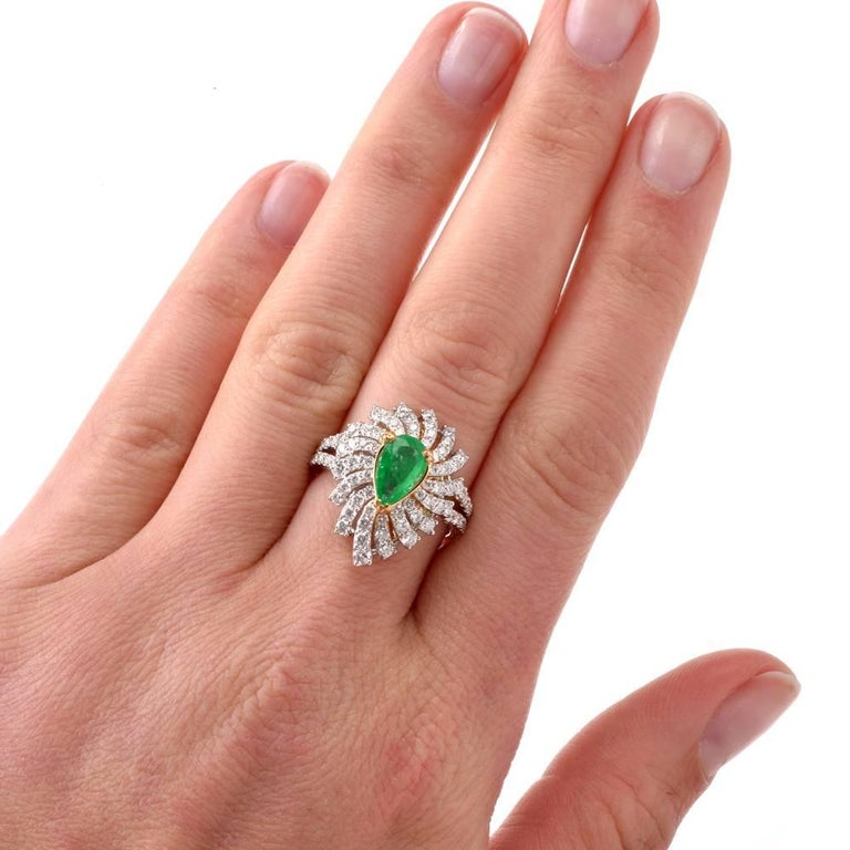 Colombian Emerald Diamond Swirl Design Cocktail Ring For Sale 3