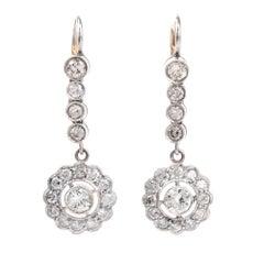 Vintage Diamond Platinum Gold Dangle Drop Earrings