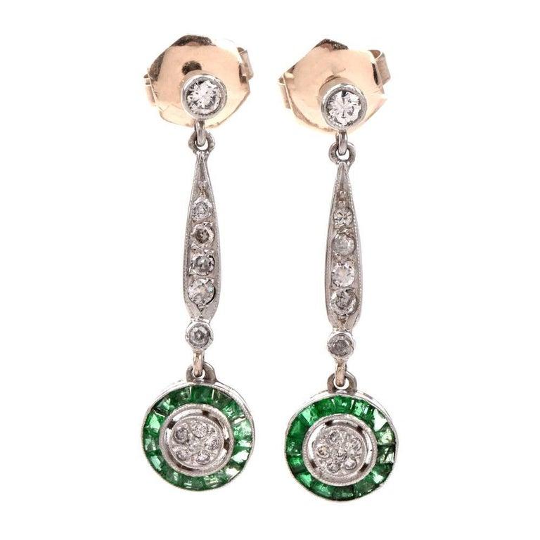 Antique Art Deco Emerald Diamond Dangle Drop Earrings