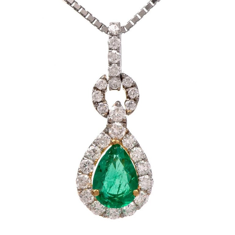 Diamond Pear-Shape Emerald 18 Karat Gold Pendant