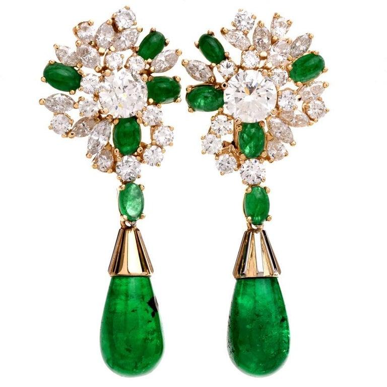 Estate Emerald 18 Karat Yellow Gold Dangle Drop Clip Back Earrings