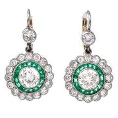 Art Deco Round European Diamond Emerald Platinum Drop Earrings