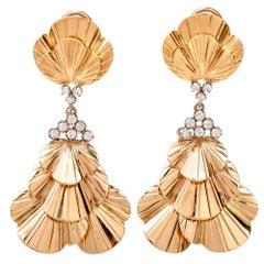 Tiffany & Co. Vintage Retro Gold Diamond Clip-Back Chandelier Earrings