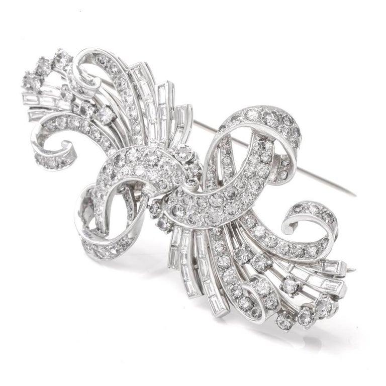 Women's Vintage Retro Diamond Platinum Double Clip Brooch Pin For Sale