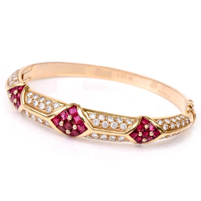 Cartier 1980s Ruby Pave Diamond 18 Karat Yellow Gold Bangle Bracelet In Excellent Condition For Sale In Miami, FL