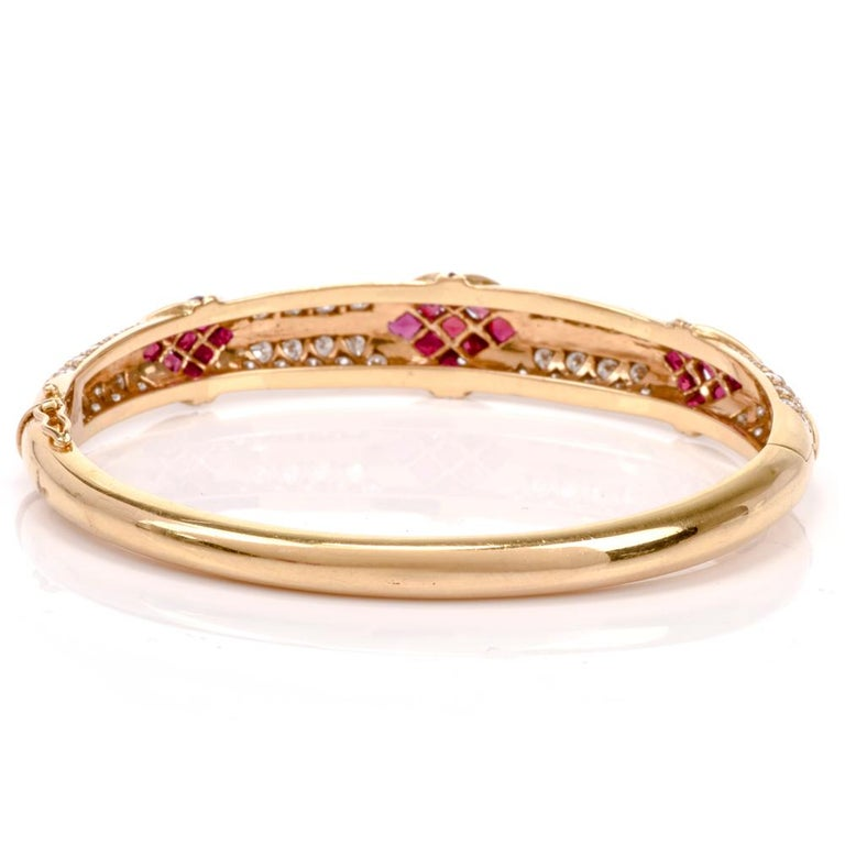 Women's Cartier 1980s Ruby Pave Diamond 18 Karat Yellow Gold Bangle Bracelet For Sale