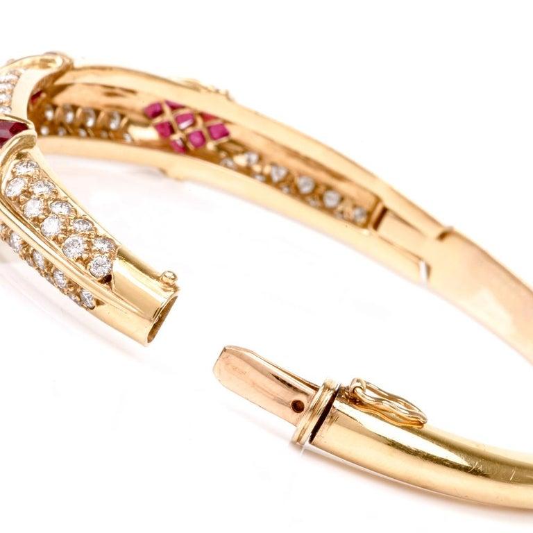 Cartier 1980s Ruby Pave Diamond 18 Karat Yellow Gold Bangle Bracelet For Sale 1