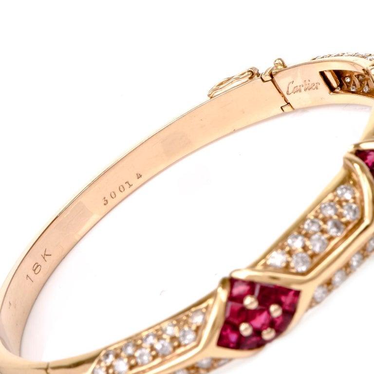 Cartier 1980s Ruby Pave Diamond 18 Karat Yellow Gold Bangle Bracelet For Sale 2