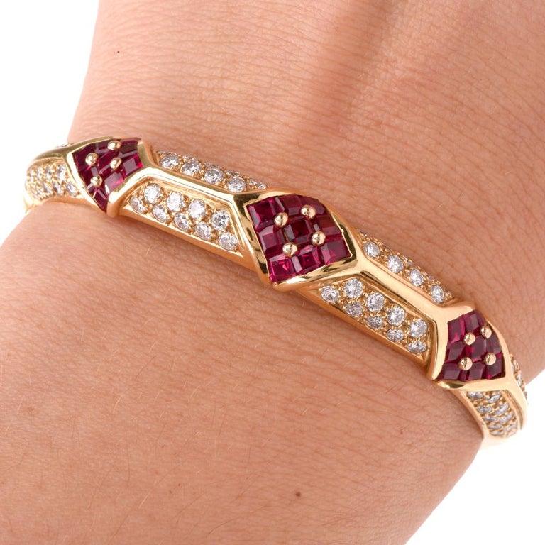Cartier 1980s Ruby Pave Diamond 18 Karat Yellow Gold Bangle Bracelet For Sale 3