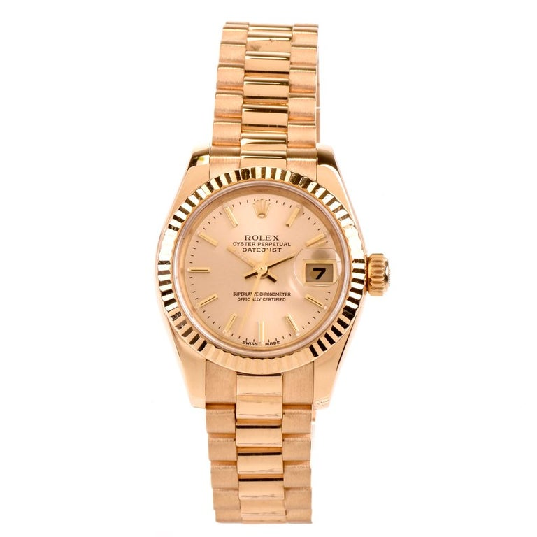 Rolex Ladies Yellow Gold White Dial President Automatic Wristwatch Ref 179178