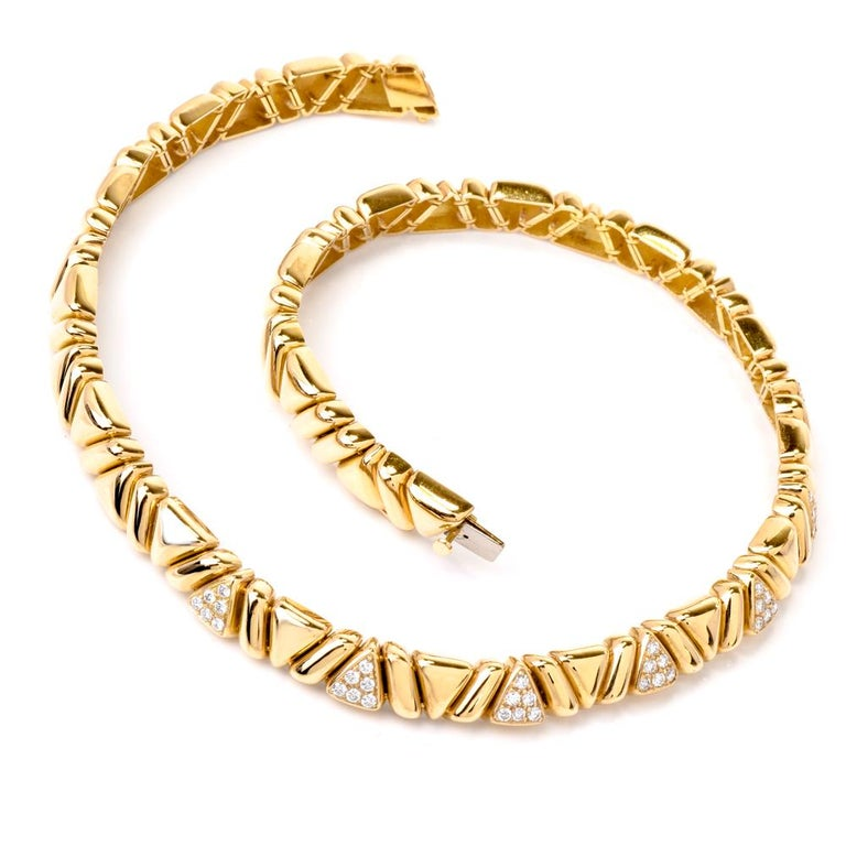 1980s Designer Diamond Gold Choker Necklace In Excellent Condition For Sale In Miami, FL
