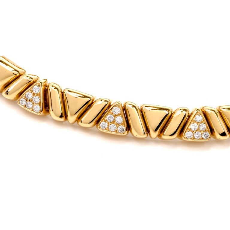 Women's 1980s Designer Diamond Gold Choker Necklace For Sale