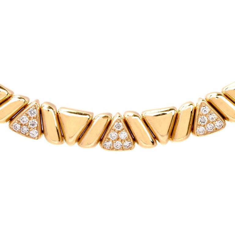 1980s Designer Diamond Gold Choker Necklace For Sale 1