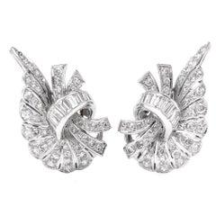 Vintage Diamond Cluster Platinum Clipback Earrings