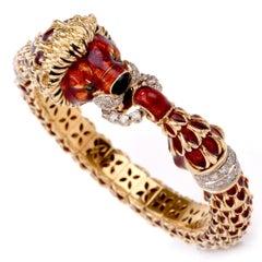 1970s Italian Diamond Red Enamel 18-Gold Bangle Bracelet