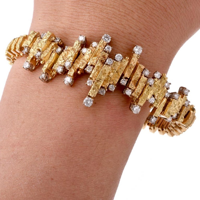 Artisan Chic Nugget Textured Yellow Gold Diamond Link Bracelet For Sale