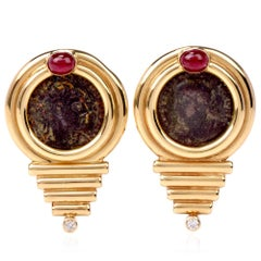1980s Old Roman Coin Diamond Gold Clip-On Gold Earrings