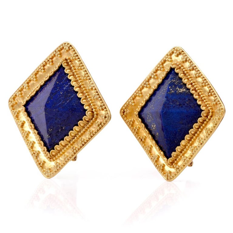 These Glamorous Lapis Lazuli Earrings Are Crafted In Solid 22k Yellow Gold With A 18k