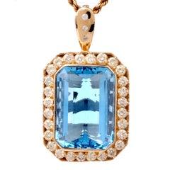 Estate Large Diamond Blue Topaz Pendant Enhancer