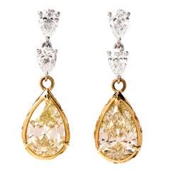 Pear Shape Yellow Diamond Dangle Drop Gold Earrings