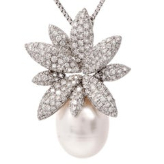 Stefan Hafner Floral Diamond Pearl White Gold Pendant Necklace