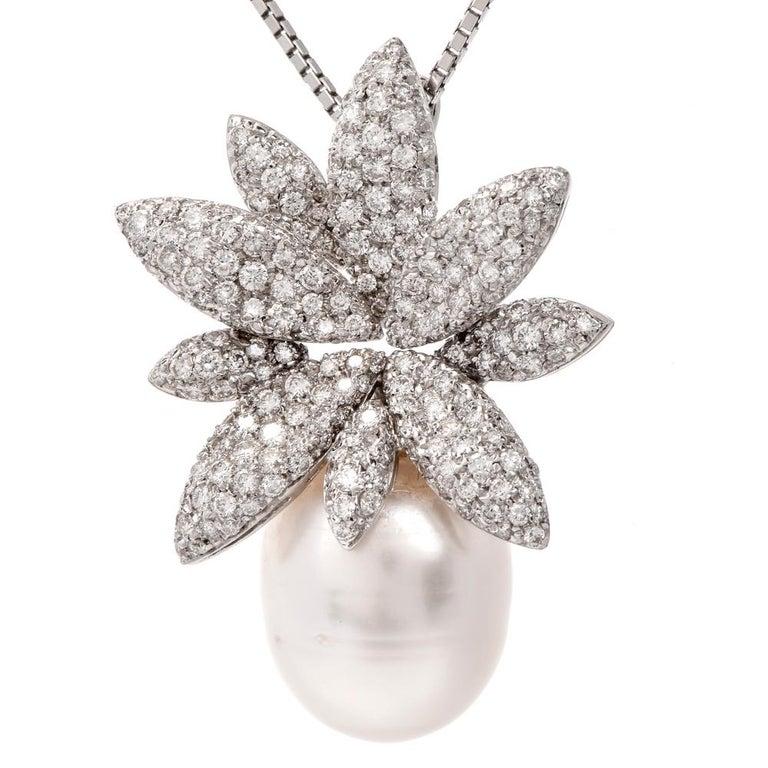 Stefan Hafner Floral Diamond Pearl White Gold Pendant Necklace