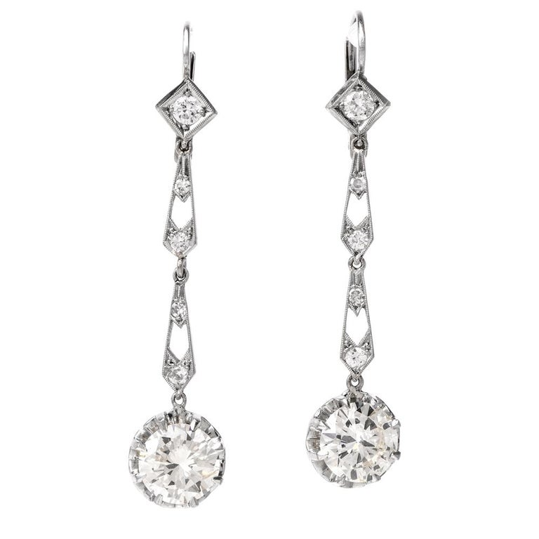 1940s Diamond Drop Platinum Earrings