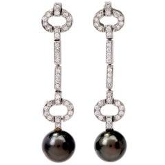 Estate Diamond Black South Sea Pearl 14 Karat White Gold Dangle Drop Earrings