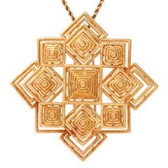 Tiffany & Co. 1970s 18 Karat Gold Pyramidal Lapel Pin Brooch Pendant