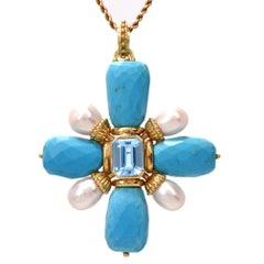 Maz Turquoise Aquamarine Cross Gold Brooch Pendant Enhancer