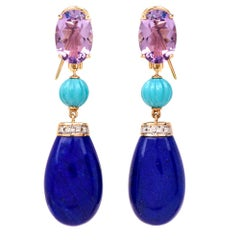 Lapis Lazuli Amethyst Turquoise Diamond 18 Karat Gold Dangle Earrings