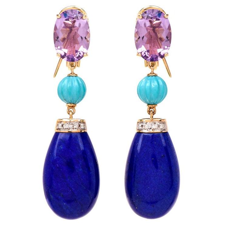 Lapis Lazuli Amethyst Turquoise Diamond 18 Karat Gold Dangle Earrings