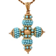 Turquoise Bead 18 Karat Gold Cross Pendant Enhancer