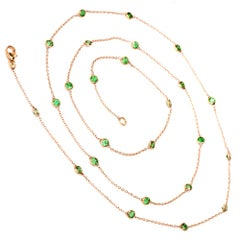 Tsavorite Long Necklace Gold Chain Necklace