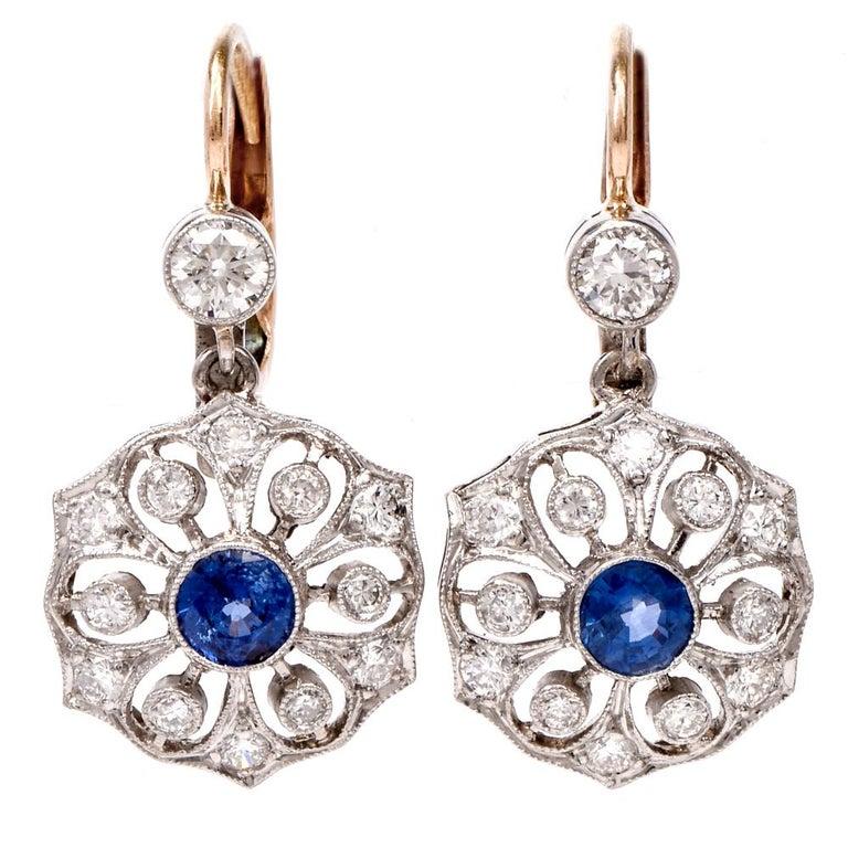 1950s Flower Diamond Sapphire Platinum 18 Karat Gold Dangle Earrings