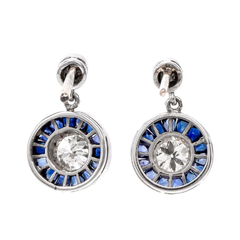 Women's Art Deco Style Circle Diamond Sapphire Platinum Dangle Stud Earrings For Sale