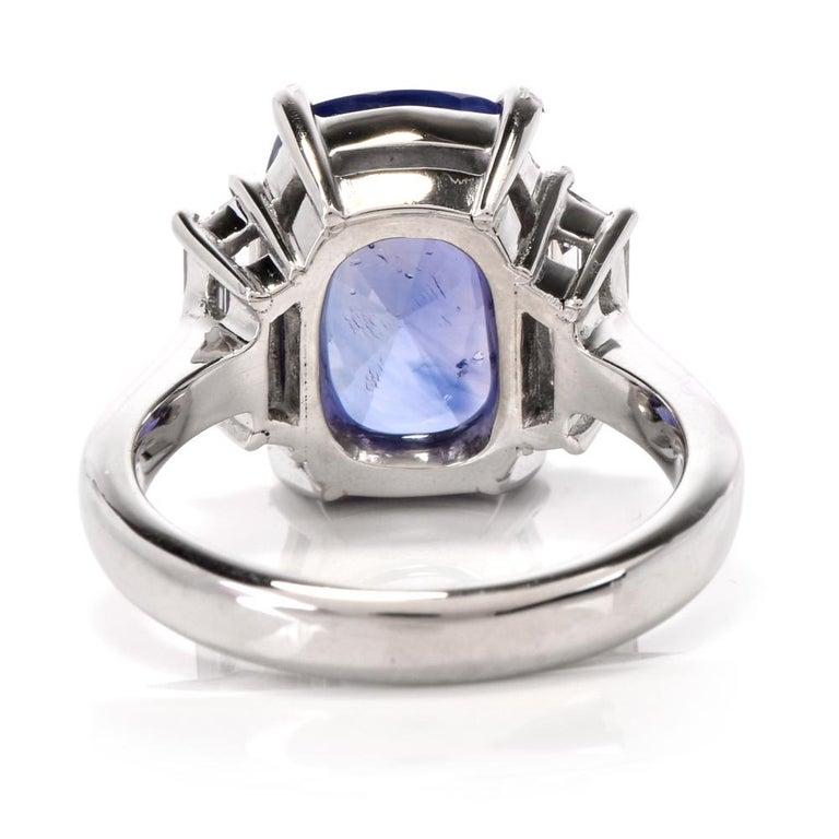 Natural No Heat Ceylon Sapphire Trapezoid Diamond Platinum Ring For Sale 2