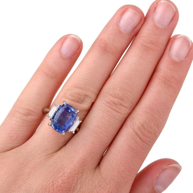 Art Deco Natural No Heat Ceylon Sapphire Trapezoid Diamond Platinum Ring For Sale