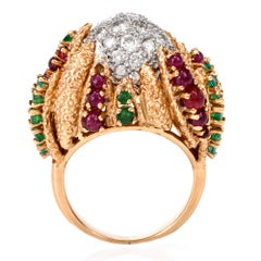 French Vintage Diamond Ruby Emerald Dome Platinum Gold Cocktail Ring