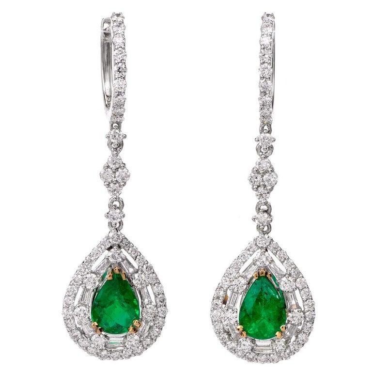 Pear Emerald Diamond Dangle Drop Gold Earrings