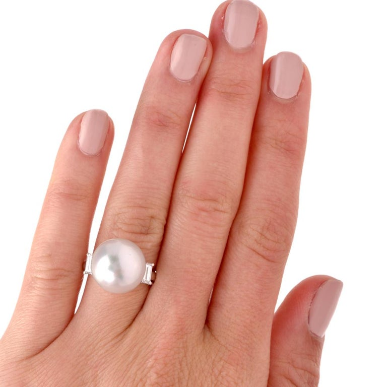South Sea Pearl Diamond Platinum Cocktail Ring In Excellent Condition For Sale In Miami, FL
